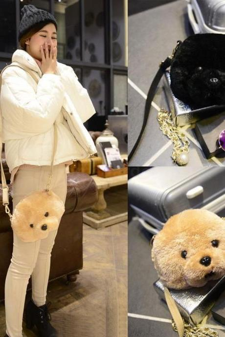 Women Ladies Faux Furry Puppy Head Crossbody Bag Purse Shoulderbag Black Beige