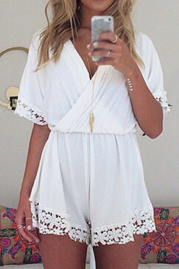 White Lace Splicing V Neck Chiffon Romper