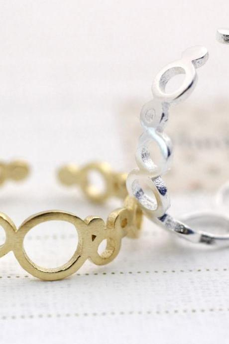 Bubble Circle Infinity ring detailed with Cubic Zirconia Ring in 3 Colors