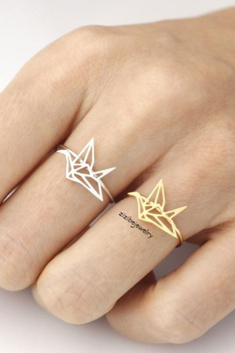 Origami Crane adjustable ring in matte gold / silver, R0054G