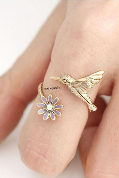 Humming Bird and Flower Adjustable Ring in 3 colors, R0280G