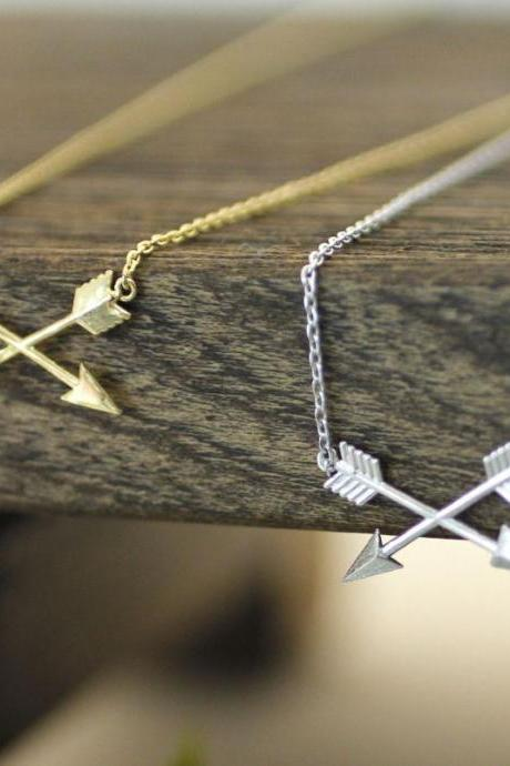 Tiny Piercing crossed X Arrow Necklace in gold silver, N0171K