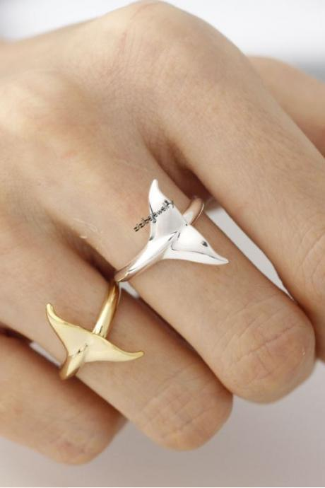 Cute Whale tail Adjustable Ring in gold silve