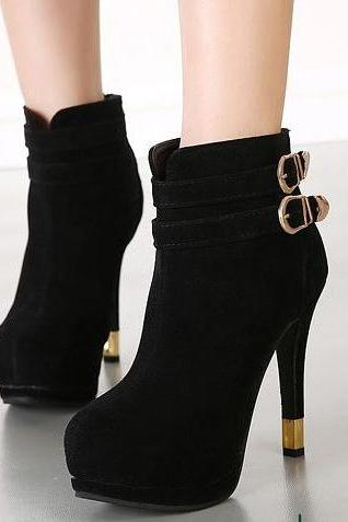 Fashion Sexy Short Boots Pure Color Frosting Back Zipper Round Toe High Thin Heel Black Boots
