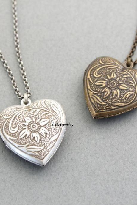 Antique style Heart Locket Necklace, N0308S