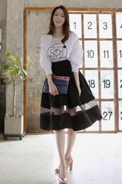 Simple Style Chiffon Organza Spliced High Waist Skirts Women Temperament See-Through Ball Gown Knee-Length Skirts
