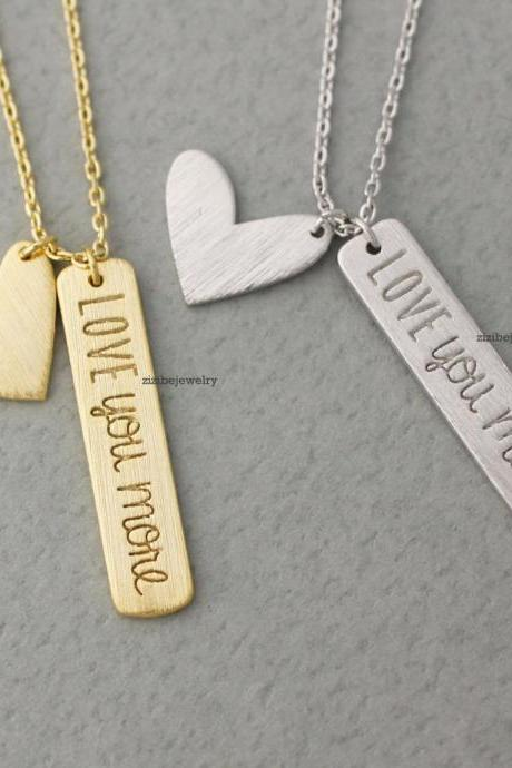 Love you More and Heart necklace, love you more necklace, heart necklace pendant Necklace, N0359K