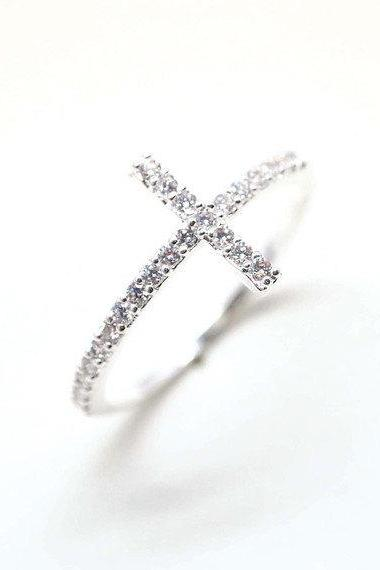 rhinestone SIDEWAYS CROSS ring in silver,with swarovski crystals