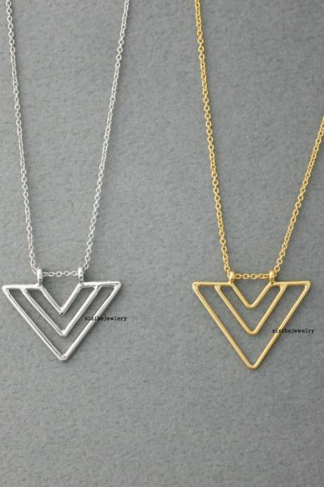 Triangle Arrow necklace in Gold/Silver - geometric jewelry, N0419S