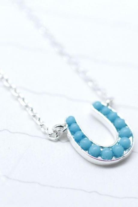 Silver Tiny Horseshoe with turquoise Necklace