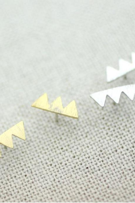 Triade triangle stud Earrings in 3 colors , E0205K