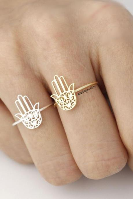 Hamsa hand Adjustable Ring in gold / silver, R0015G