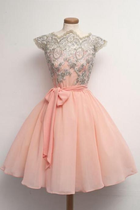 Skin Pink Chiffon Cap Sleeves Short Party Dress With Appliques