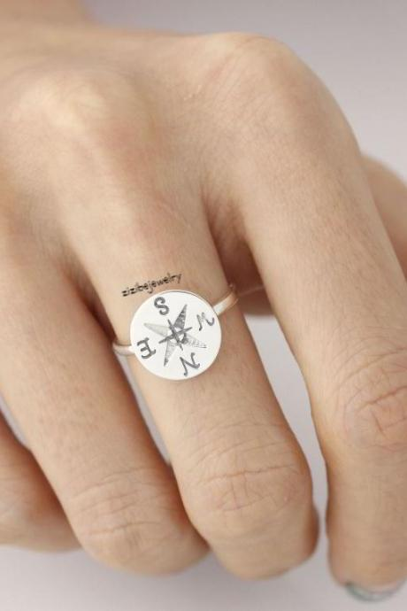 925 Sterling Silver Compass Ring, R0349S