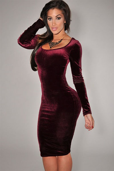 Cheap Sexy O Neck Long Sleeves Wine Red Velvet Sheath Midi Dress