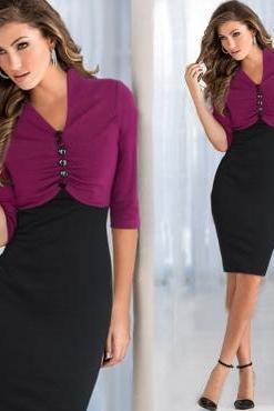 Cheap Fashion V Neck Half Sleeves Patchwork Purple Faux Two-Piece Sheath Knee Length Dress