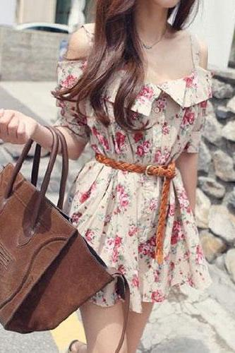 Floral Print Short Sleeve Off Shoulder Mini Slip Dress