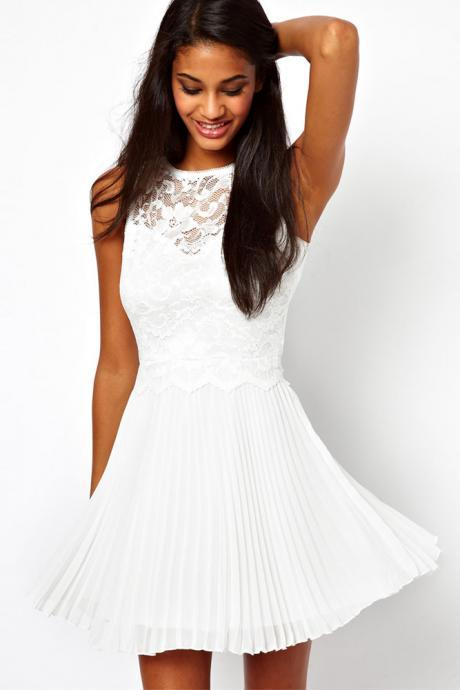 Fashion O Neck Sleeveless Pleated White Chiffon Mini Dress