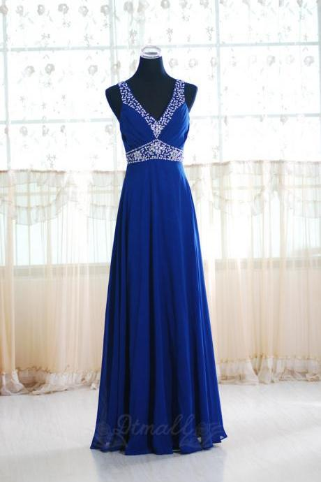 Long Bridesmaid Dresses V-neck Straps Party Dress Beads Chiffon Dress Prom Dress S025