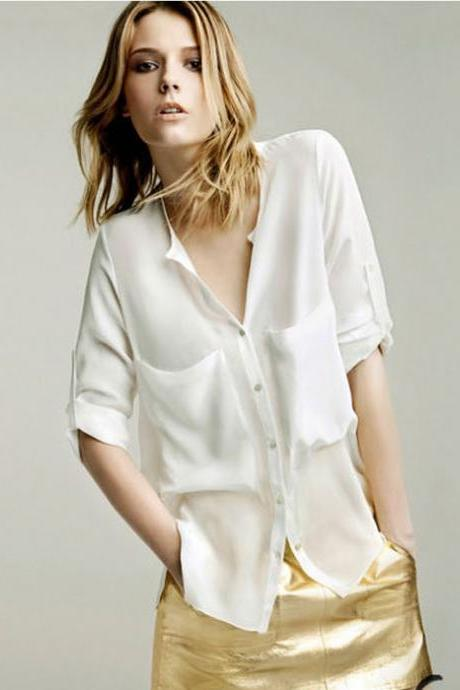 White Plunge V Button Down Half Sleeved Chiffon Shirt Featuring Front Pockets