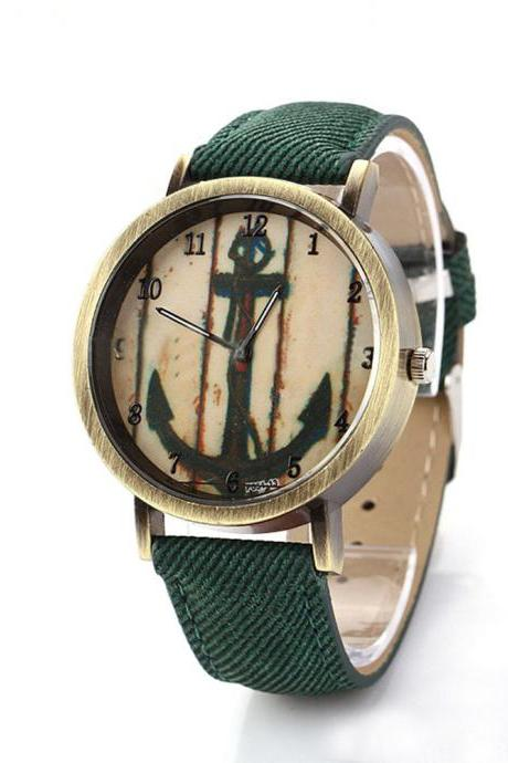 Denim-Look watch, anchor watch, green leather watch, leather watch, bracelet watch, vintage watch, retro watch, woman watch, lady watch, girl watch, unisex watch, AP00199
