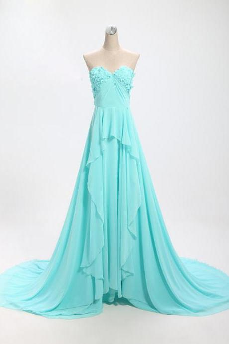 Elegant Blue Sweetheart Long Prom Dresses 2015, Prom Gowns, Evening Gowns, Formal dresses