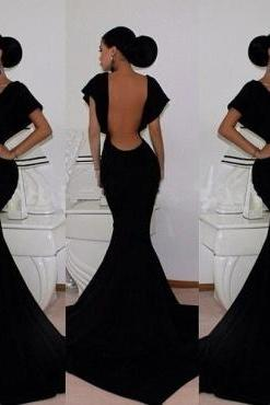 Cheap Vintage V Neck Cap Short Sleeves Backless Black Mermaid Floor Length Dress