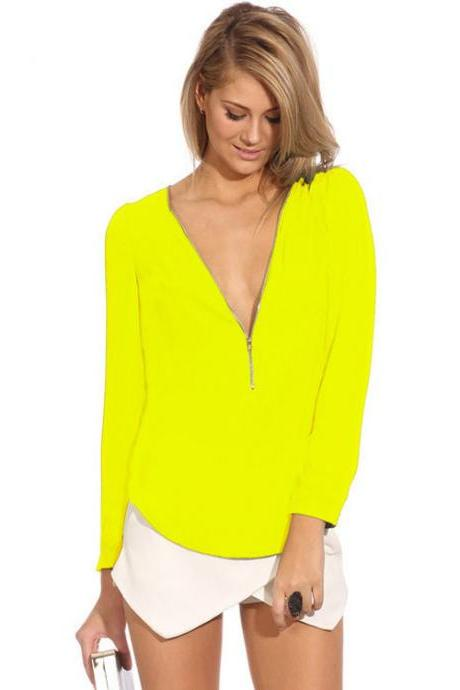 Cheap Fashion V Neck Long Sleeves Front Zipper Design Solid Yellow Chiffon Shirt