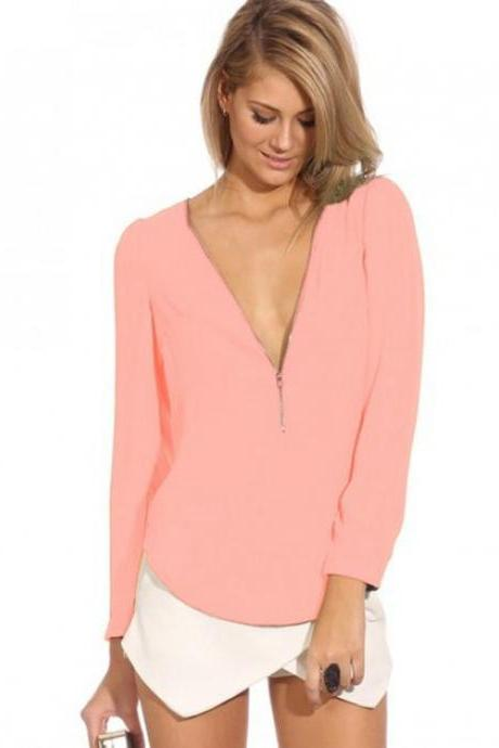 Cheap Fashion V Neck Long Sleeves Front Zipper Design Solid Pink Chiffon Shirt