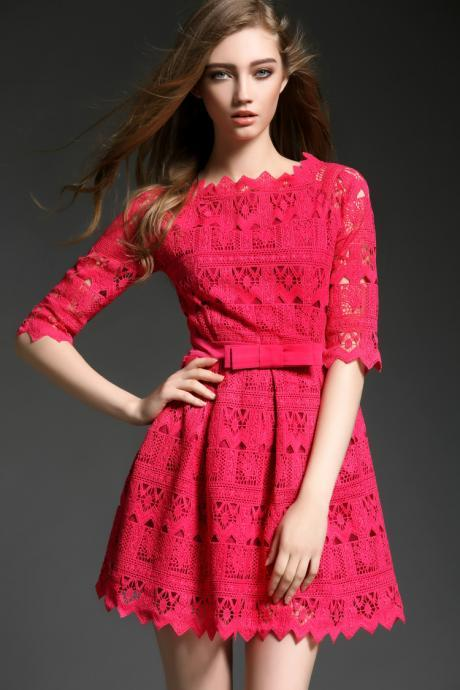 High Quality Rose Pink Lace Dress