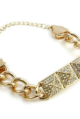 Trendy Fashion Unique Personality Punk rivet Crystal Golden Metal Chain bracelet