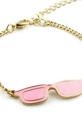 Fashion Unique Personality pink Glasses Golden Metal Chain bracelet