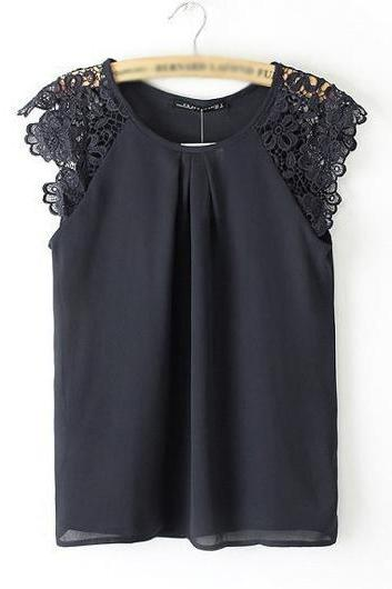 Sweet Lace Splicing Chiffon Sleeveless Blouse - Black
