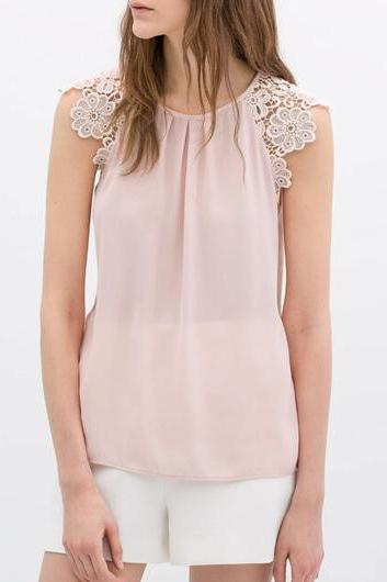Sweet Lace Splicing Chiffon Sleeveless Blouse - Pink