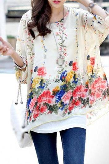 Beautiful Bohemian Floral Print Batwing Sleeve Chiffon Blouse