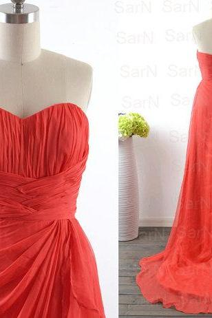 Red Chiffon Evening Dresses with Silt, A Line Red Chiffon Strapless Evening Gown, Red Wedding Party Dresses, Red Chiffon Formal Gown