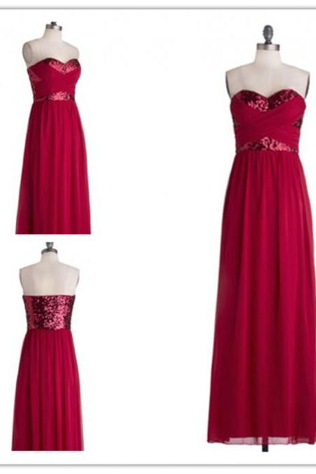 2015 fashion strapless full length red prom Dresses evening dress Bridesmaid dresses custom made L65