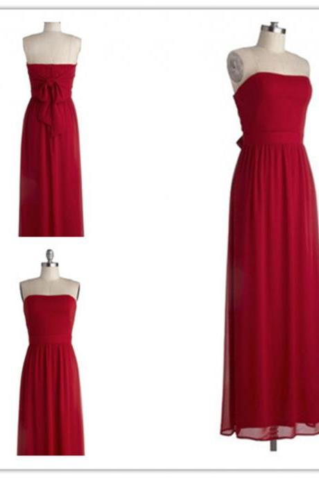 2015 fashion strapless full length red chiffon prom Dresses evening dress Bridesmaid dresses custom made L70