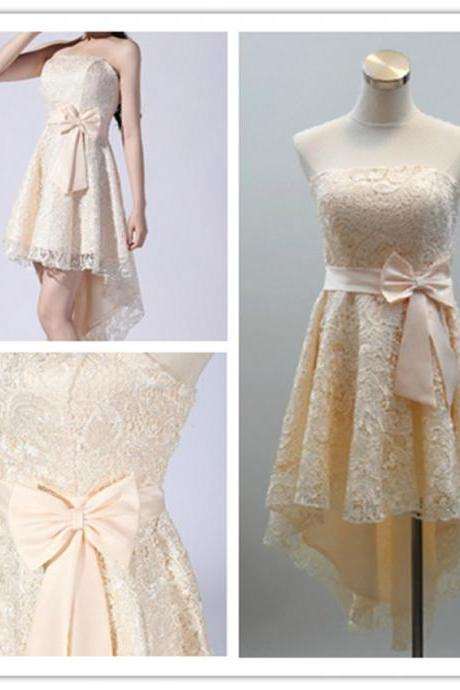 2015 fashion strapless Champagne lace Hi-Lo knee length prom Dresses evening dress Bridesmaid dresses custom made L86