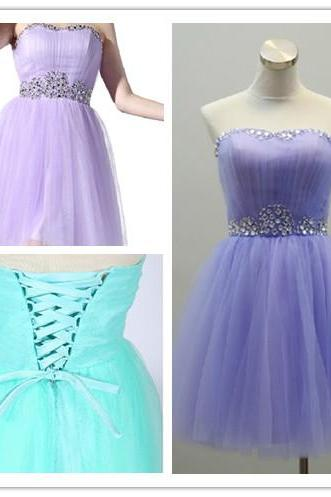 2015 fashion strapless tulle knee length prom Dresses evening dress Bridesmaid dresses custom made L88