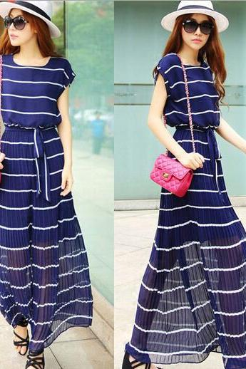 Stripes with chiffon dress