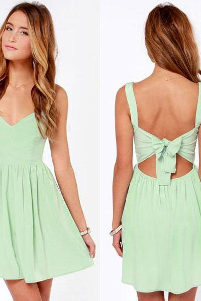 Chiffon Plunge V Shoulder Straps Short Skater Dress Featuring Tie Accent Open Back