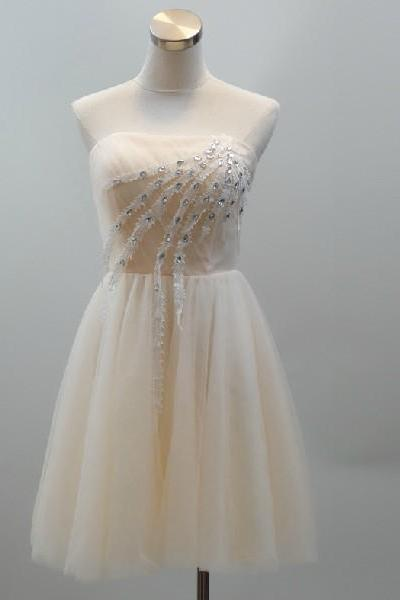 2015 fashion strapless Champagne tulle knee length prom Dresses evening dress Bridesmaid dresses custom made L89