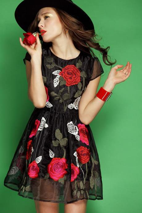 Slim Dress Embroidery--BLACK