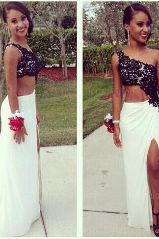 2 piece prom dresses, white and black prom dress, unique prom dresses, sexy prom dresses, 2015 prom dresses, popular prom dresses, dresses for prom, CM386