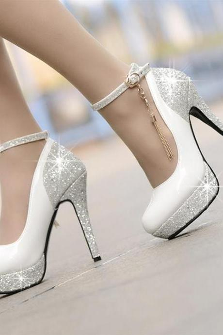 Gorgeous Ankle Strap Design Charmed Sparkly High Heels Shoes
