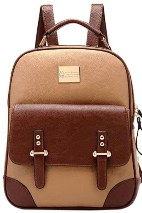 2015 Fashion British Style Vintage Backpack School Bag
