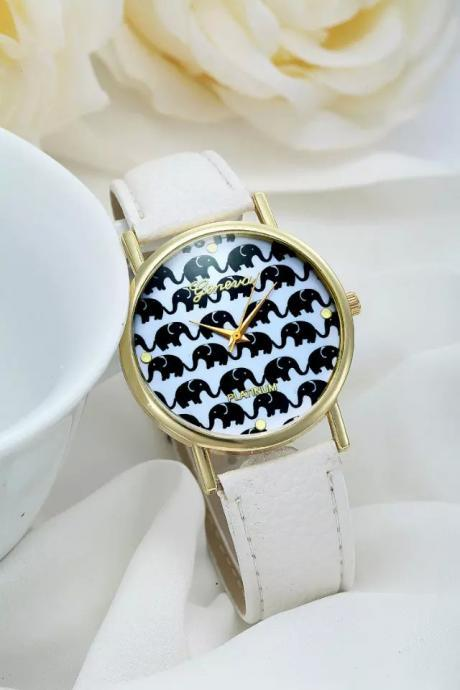 Elephant watch, elephant leather watch, leather watch, bracelet watch, vintage watch, retro watch, woman watch, lady watch, girl watch, unisex watch, AP00209