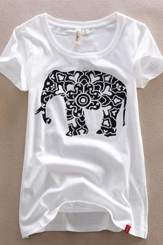Paper Cut Elephant Pattern Short Sleeve T Shirt