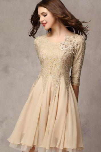 Elegant A Line Lace And Chiffon Dress